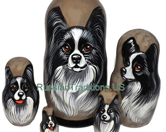 Papillon on Five Russian Nesting Dolls. Black/White. Dogs