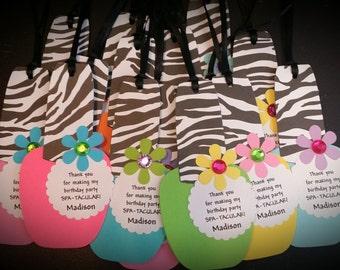 Spa Party Favor Tags - Nail Polish Favor Tags - Girls Spa Party Favor Tags Set of 12