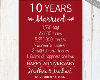Wedding Gifts For 10 Year Anniversary : 10th anniversary gift 10 years wedding anniversary personalized 10th ...