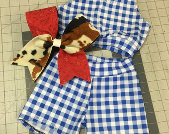 Cute as Country Crop Top, Short, Matching Bow