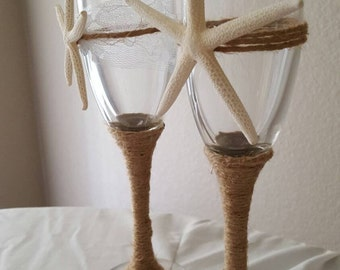 Beach Inspired White Finger Starfish Wedding Champagne Toast Glasses with Optional Twine Wrapping// Beach Themed Champagne Toast Flutes