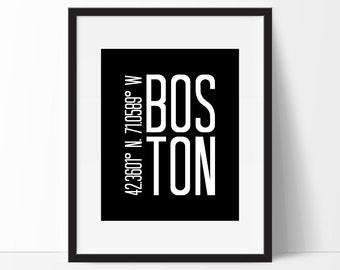 Etonnant Boston Print, Boston Wall Art, Massachusetts Art Print, City Art, Boston  Coordinates