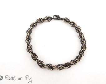 Super Spiral Chain Maille Bracelet - Black & Tan