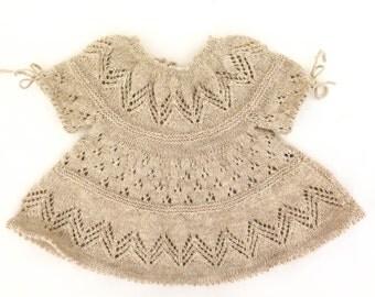 Hand-Knit Baby Dress, Baby Knit Dress, Baby Lace Dress, Little Darling Dress, Modern Lace Dress, Woolen Knit Baby Dress