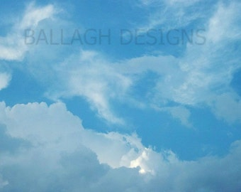 clouds, blue sky, white clouds, wall art