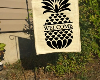 Welcome Garden Flag, Welcome Burlap Flag, Welcome Pineapple Flag