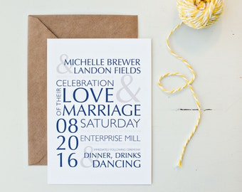 Modern clean, customized wedding invitation navy and gray, yellow button