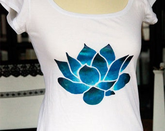 Women T-shirt Blue Lotus Flower, Handpainted