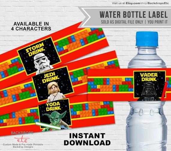 Star Wars Lego Drink Label // Water Bottle Label by ...