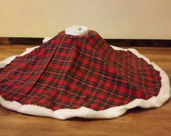 Flannel Christmas Tree Skirt Custom Monogrammed Embroidered With Matching Stockings