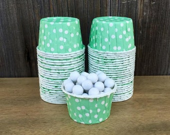 Mint Green Polka Dot Candy Cups-- Mint Nut Cups-- Birthday Party--Treat Cups-- Mini Muffins--Wedding--Shower--24 or 48 Cups