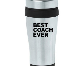 16 oz Stainless Steel Insulated Travel Mug Coffee Tea Cup Best Coach Ever - Purple Pink Blue Green Red Orange Yellow