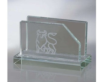 Engraved Glass Business Card Holder For Office Desk Personalized Custom