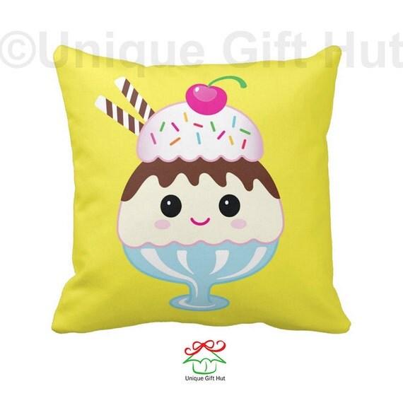 Ice Cream Throw Pillows : Ice Cream Sundae Pillow-Cute Throw Pillow-Throw by UniqueGiftHut