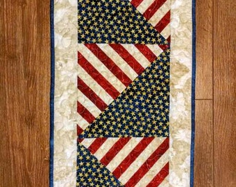Stars and Stripes Americana Patriotic Quilted Table Runner