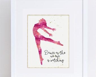 Silhouette Art, Dance Poster, Ballerina Printable, Dance Art Printable, Pink Modern Art, Dance Sign Printable, DIY Nursery, Digital Download