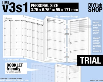 Trial [PERSONAL v3s1 w/o DAILY] November to December 2017 - Filofax Inserts Refills Printable Binder Planner Midori.