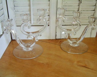 Vintage Pair of Fostoria Crystal Century Pattern Triple Candleholders Candle Holders Clear Glass Candlesticks Dining Table Candle Holders
