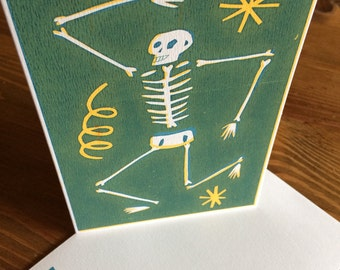 Original screen printed skeleton card