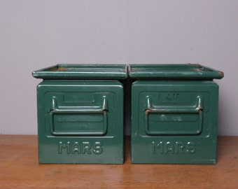 Children's Dark Green Metal Mars Storage Crates/Boxes - Children's Furniture