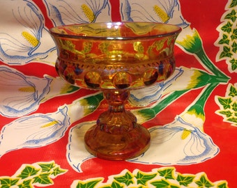 Vintage marigold Kings Crown Thumbprint carnival glass footed candy dish or compote