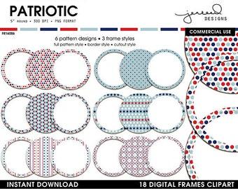 Patriotic Printable Frames Clip Art || Fourth of July Clip Art Borders || Patriot Clip Art Borders || USA Frame || Commercial Use || FR16006