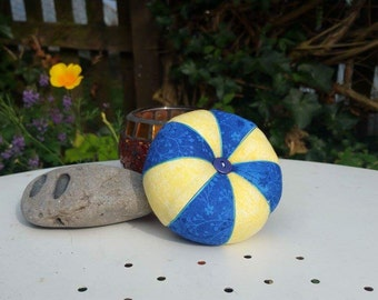 Handmade Pinwheel Pincushion in Recycled Fabric with recycled button