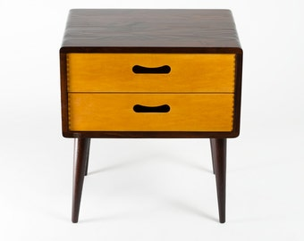 Mid Century Modern Side Table - Double Drawer