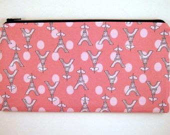 Eiffel Tower Pencil Case, Gadget Bag, Paris Pencil Pouch, Make Up Bag, Pink Zipper Pouch