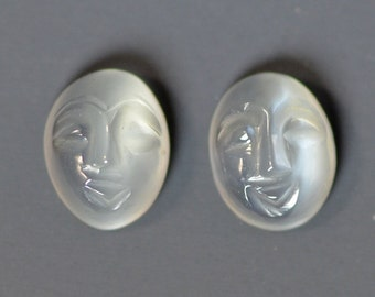 Pair of Cat's Eye Hand Carved Moonstone Faces 9x7mm Oval Cabochons