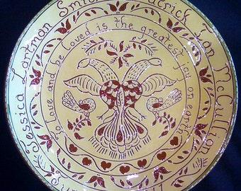 Custom Redware Wedding/Anniversary Fancy plate