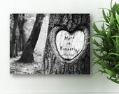 """Personalized Tree Carving Canvas Print - 18"""" x 24"""" Canvas print - Heart Tree Carving - Valentines Day Gift -  CA0084"""