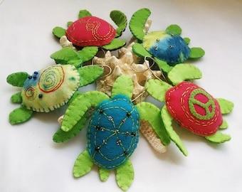 Turtle Ornament, Felt Turtle, Coastal Accent, Sea Creature Ornament