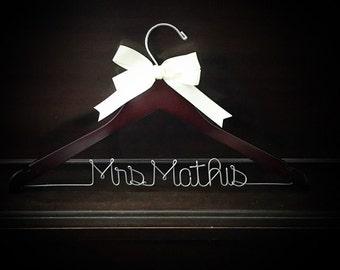 Wedding dress hanger,  bridal shower gift,  bride gift,  gift for her,  custom hanger,  wire hanger,  name hanger,  bridal shower gift