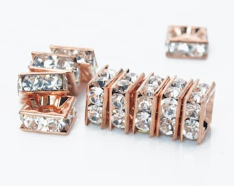 clear rhinestone crystal squardelle spacers - rose gold tone bling bridal  brass spacer beads - shiny crystal  spacers - 5-10mm beads -50pcs