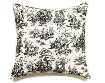 Black Toile Pillow, Toile Sofa Pillow, 18x18 Pillow Cover, Black Throw Pillow, Decorative Pillows, Accent Pillow Sham, Jamestown Black
