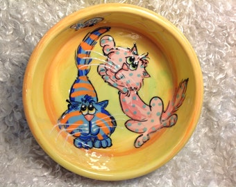 Ceramic Cat Bowl / Custom Cat Pottery / Hand Painted / Food Bowl / Debby Carman  / Faux Paw Productions