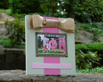 Gamma Phi Beta Large Bow Table Top Frame with Burlap Ribbon