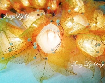 20 Yellow Flower Fairy String Lights Hanging Wedding Gift Party Patio Wall Floor Home Accent Floral Decor Bedroom Lights.