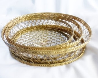 3 Gold Tone Nesting Decorative Metal Wire Baskets Containers Home Decor