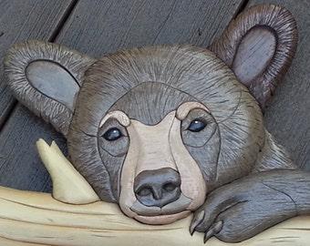 Adorable Bear Cub Intarsia Woodwork