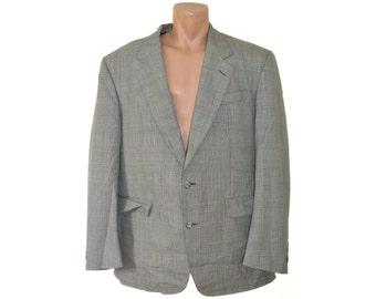 Vintage Dormeuil Maurice Gladek Metz men blazer gray checked 100% wool Super 80