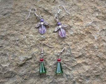 Earrings with angels or Christmas trees