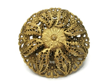 Vintage Gold Tone Filigree Brooch - Large Round Ornate Layered Gold Filigree Floral Pin - Flowers and Leaves Openwork Metal Brooch