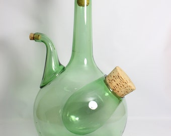 Large Blown Green Glass Spout Vine Decanter With Ice Chamber