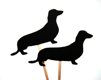 Set of 24Pcs - Black Dachshund Silhouette Double Sided Party Picks, cupcake topper, birthday, bachelorette, bridal and baby shower