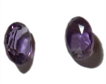 Amethyst , 6 x 8 mm Size, Cut stone, Oval Shape, 2 pcs.