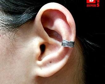 925 Sterling Silver Oxidized Earrings, Ear Cuff Earrings (Code : K45)