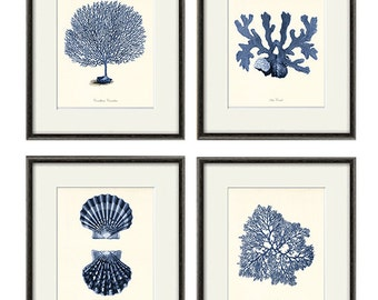 Sea coral art print Nautical art print set of 4 antique wall art Victorian art Ocean art print beach art Home decor wall art Sea art print