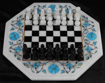 Turquoise Inlay Marble Chess Set Pietra Dura Italian Art Handmade Decoratives